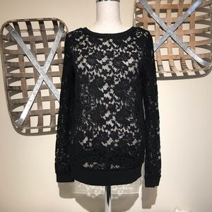 Ambiance sheer floral lace long sleeve top